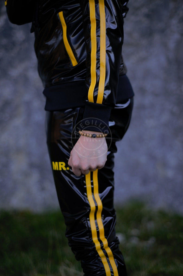 PVC Tracksuit pants with yellow stripes Pants Mr Riegillio