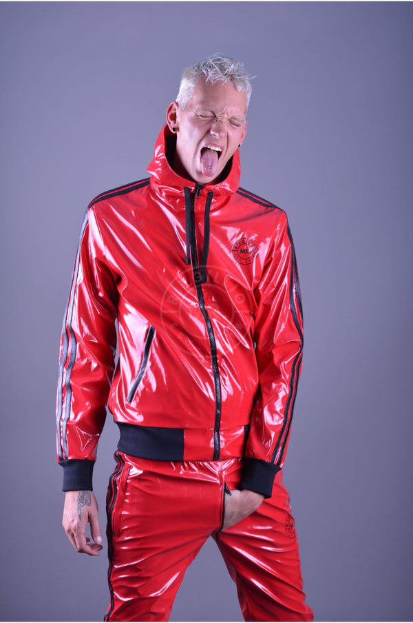 Red PVC Tracksuit Pants Pants Mr Riegillio