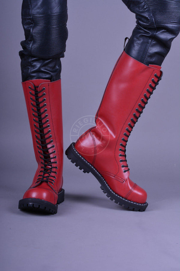 Red Steel Boots Skinhead Boots 20 hole Boots STEEL