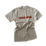 LOVE WINS  - Adult Unisex Crewneck Tee ( CREAM & BURNT ORANGE  DESIGN )