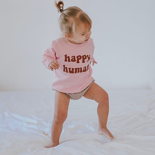 HAPPY HUMAN ( pink ) Toddler Sweatshirt