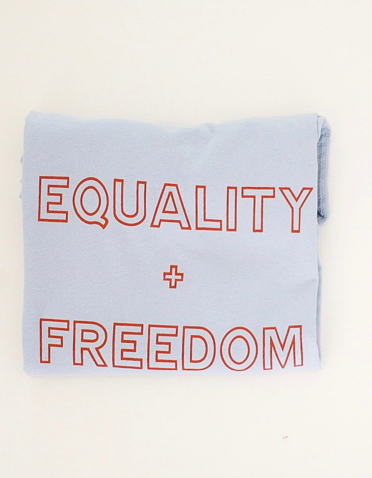 EQUALITY + FREEDOM  4th OF JULY EDITION - Adult Unisex Tee ( BLUE - RED ) * READY TO SHIP *