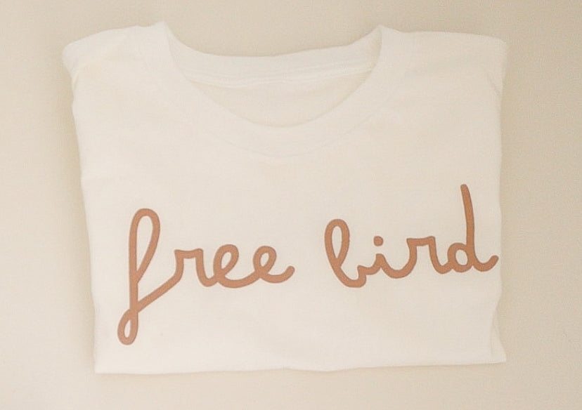 FREE BIRD - Adult Unisex Crewneck Tee ( LIGHTBROWN