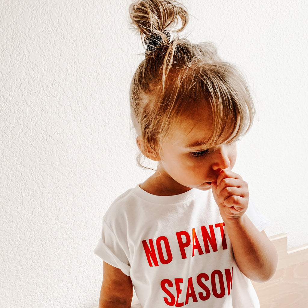 NO PANTS SEASON ™ - Infant | Toddler | Youth (  WHITE TEE WITH RUST DESIGN )