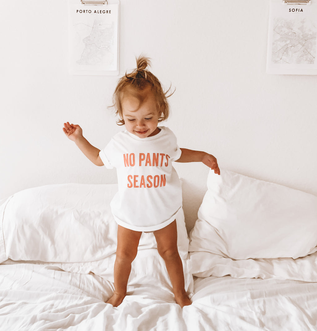 NO PANTS SEASON ™ - Infant | Toddler | Youth (  WHITE TEE WITH PINK DESIGN )