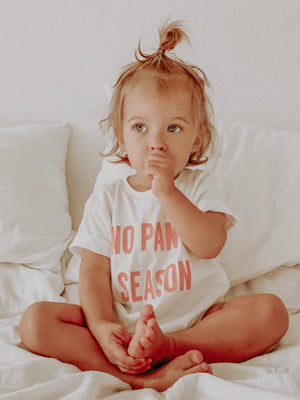 NO PANTS SEASON - Infant | Toddler | Youth (  WHITE TEE WITH PINK DESIGN )