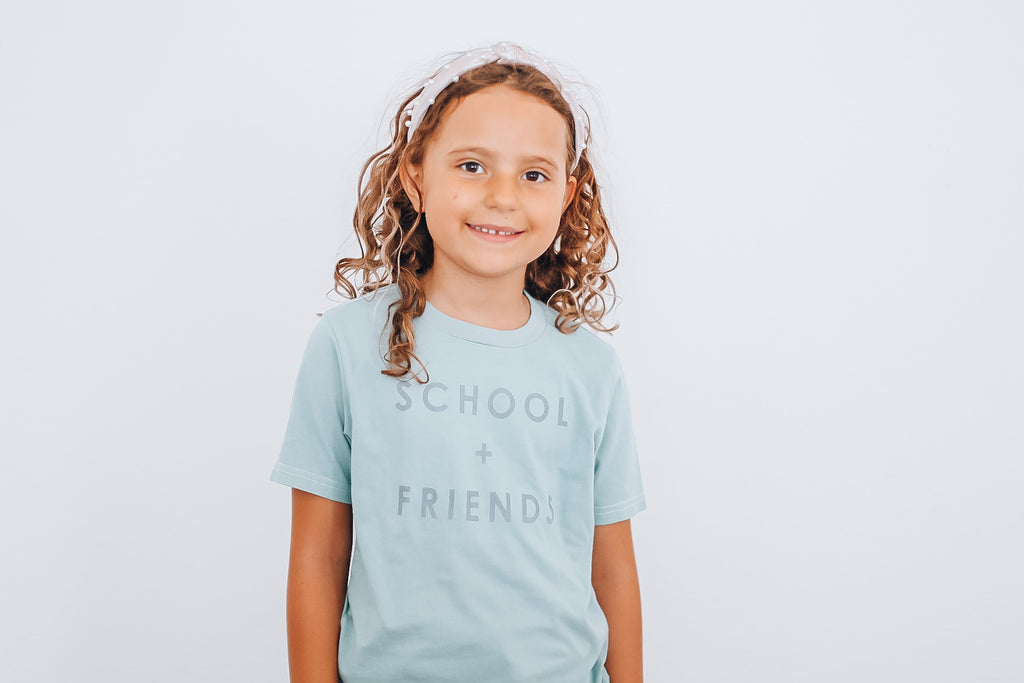 SCHOOL + FRIENDS -  Toddler & Youth  T-Shirt ( GRAY DESIGN ) * READY TO SHIP *
