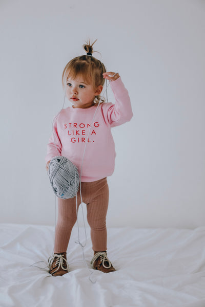PINK STRONG LIKE A GIRL TODDLER SWEATSHIRTS