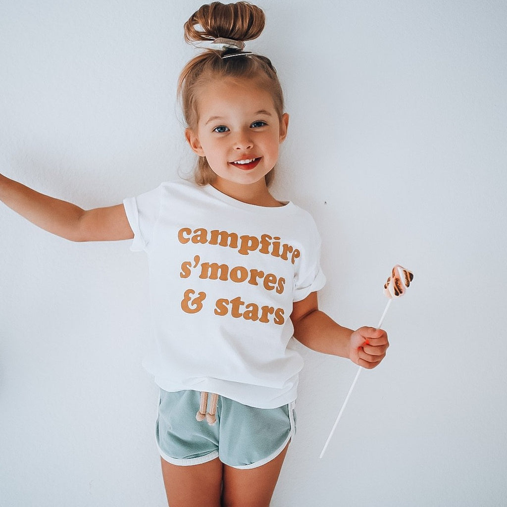 CAMPFIRE S'MORES & STARS  - Infant & Toddler & Youth Tee [ mustard design ]
