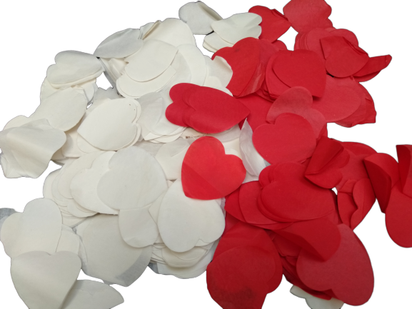 Red & White Love Heart Paper Confetti - Approx 700 pcs