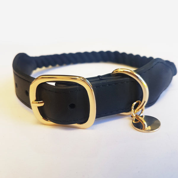 Twisted Rope Dog Collar - Classic Black and Gold