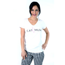 The Cat Mum V-Neck Tee - White