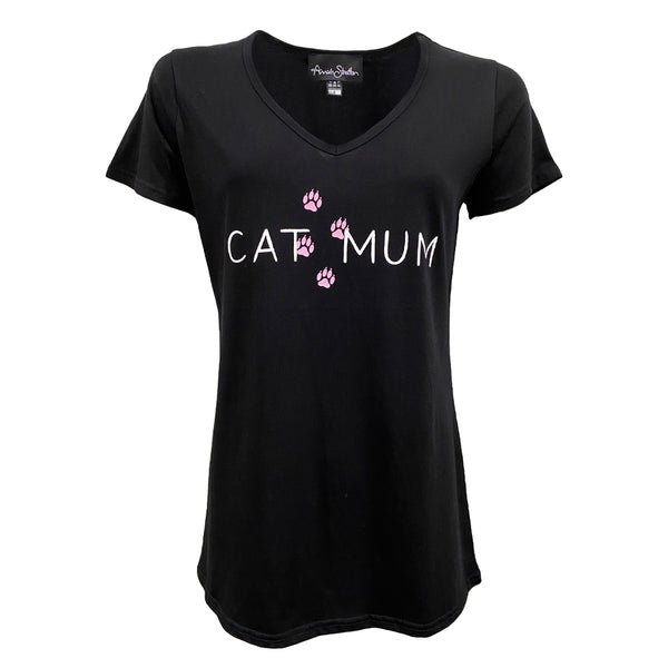 The Cat Mum V-Neck Tee - Black