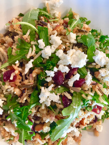 Honeyed SwRucola, Roasted Nuts, Rice, Quinoa & Feta Bowl Cooking with Kids Everyday Family Goodness No Added Sugar