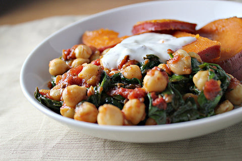 Honeyed Sweet Potatoes, Chickpeas & Spinach with Lemon Yoghurt Cooking with Kids Everyday Family Goodness No Added Sugar