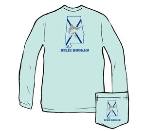 Dixie Hooked - Long Sleeve Performance Tee with Pocket in Caribbean Blue
