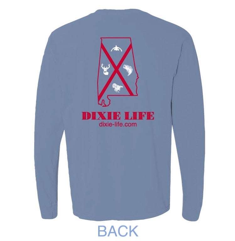 Dixie Life- Alabama T-Shirt LS (Washed Denim)