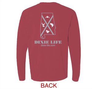 Dixie Life- Alabama T-Shirt LS (Crimson)
