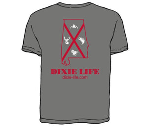 Dixie Life- Alabama T-Shirt SS (Grey)