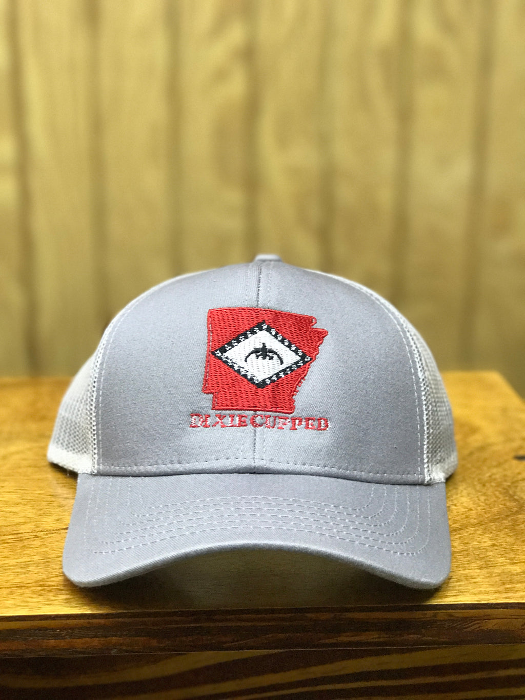 Dixie Cupped - Arkansas Light Gray w/White Mesh Structured Cap