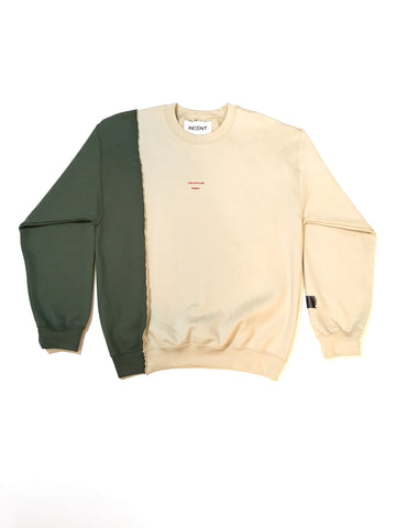 Split Cream two tone panel crew neck