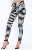 Black And White Stripe Paper Bag Trousers