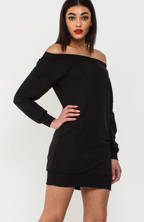 Black Bardot Jumper Dress