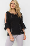 Black Crochet Cold Shoulder Top