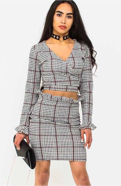 Black Gingham Tie Back Crop Top