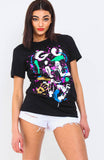 Black Gulity Slogan Paint Splash T Shirt
