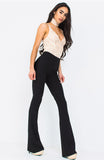 Black Ribbed Wide Leg Trousers