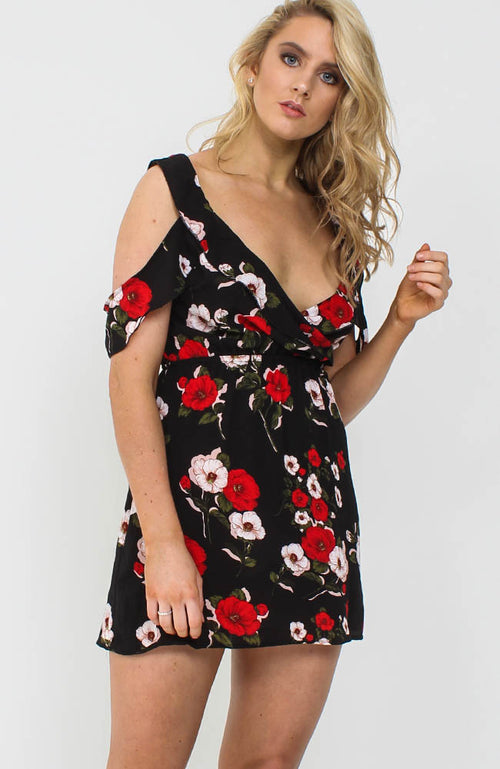 Black Rose Floral Cold Shoulder Mini Dress