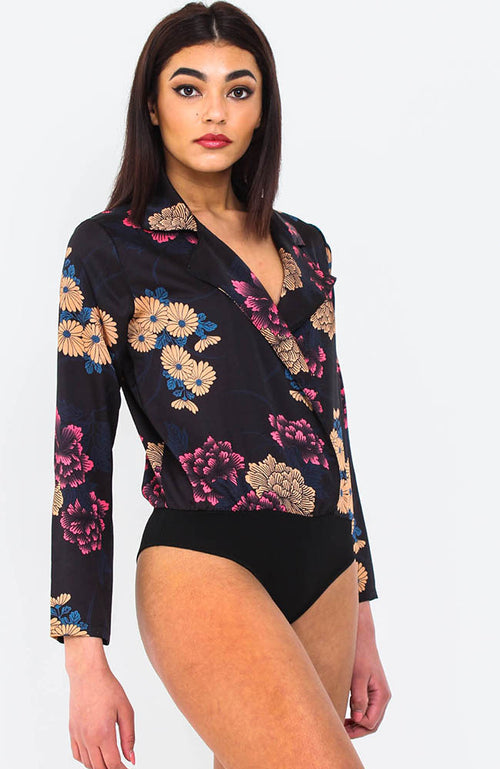 Black Satin Floral Plunge Neck Bodysuit