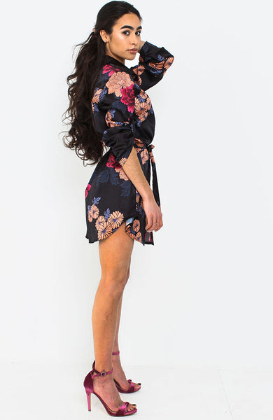 Black Satin Floral Shirt Dress