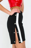 Black Side Stripe Popper Shorts