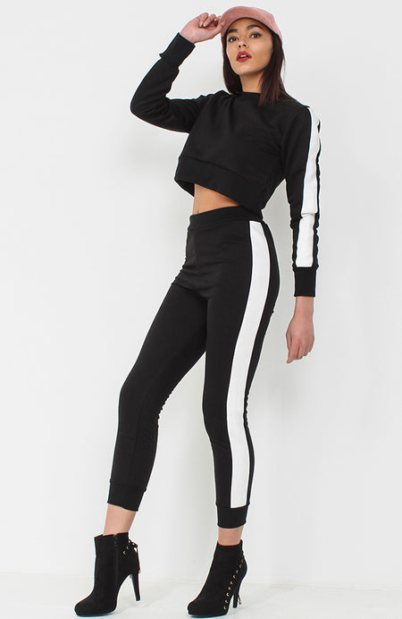 Black With Red Stripe Side Popper Trousers
