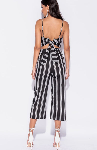 Black Striped Crop Top Trouser Co Ord
