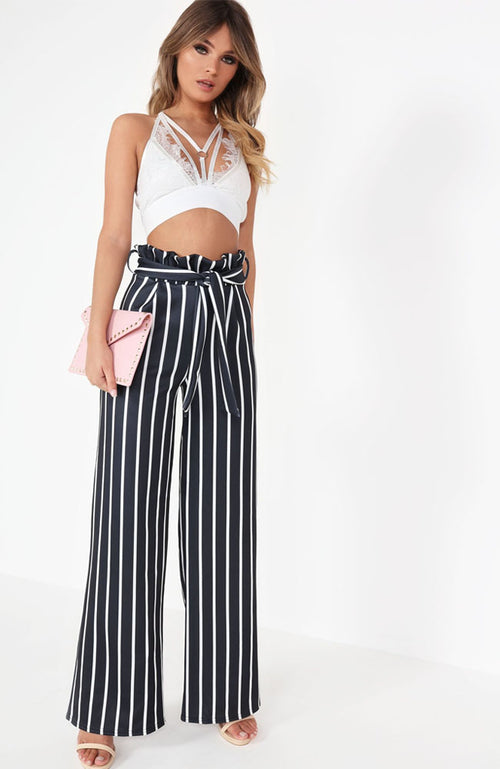 Black Striped Wide Leg Paper Bag Trousers