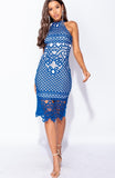 Blue High Crochet Midi Dress