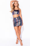 Blue Sequin Top Skirt Co Ord