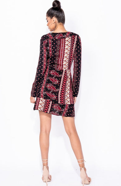 Brown Paisley Floral Frill Mini Dress