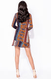 Orange Scarf Print Frill Mini Dress