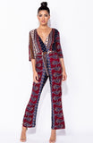 Brown Scarf Print Wrap Over Jumpsuit