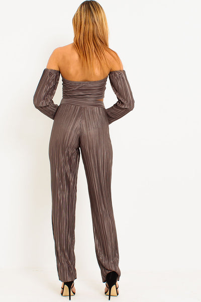 Charcoal Pleated Bardot Trouser Set