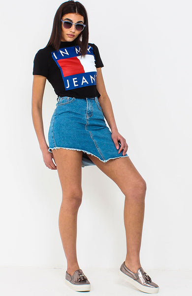 Black In My Jeans Slogan Cropped T Shirt
