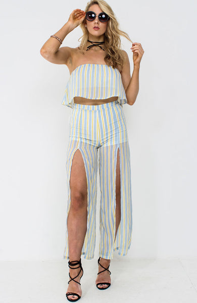Dusky Blue Front Split Trouser Co Ord