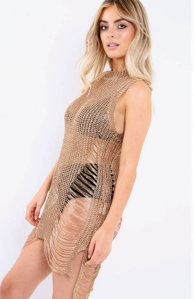 Gold Knitted Distressed Mini Dress