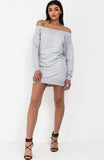 Grey Bardot Jumper Dress