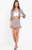 Grey Suede Frill Skirt Set