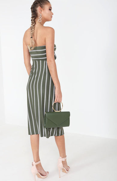 Khaki Striped Knot Front Button Midi Dress